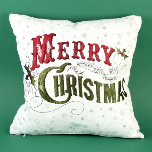 Christmas Cushion White with Red and Green 'Merry Christmas' embroidery